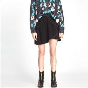 ZARA Basics black denim belted skirt XS